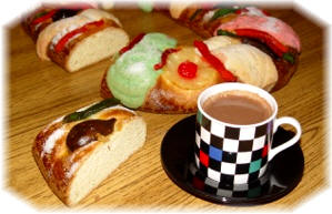 Rosca de Reyes with hot chocolate - Traditionally served on Three Kings Day in Mexico.  - © Calendar Updates