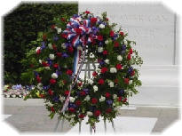 Wreath at the Tomb of the Unknowns at Arlington National Cemetery